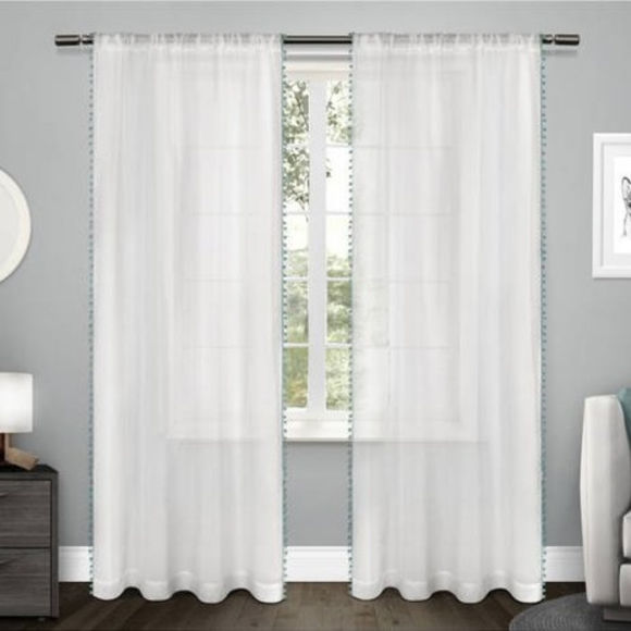 Other - 4 Piece Sheer Curtain Panels with Pom-Poms
